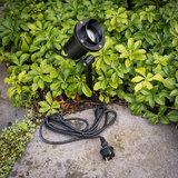 Tuinspot zwart met snoer en stekker