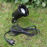 Tuinspot zwart met stekker 230v gu-10